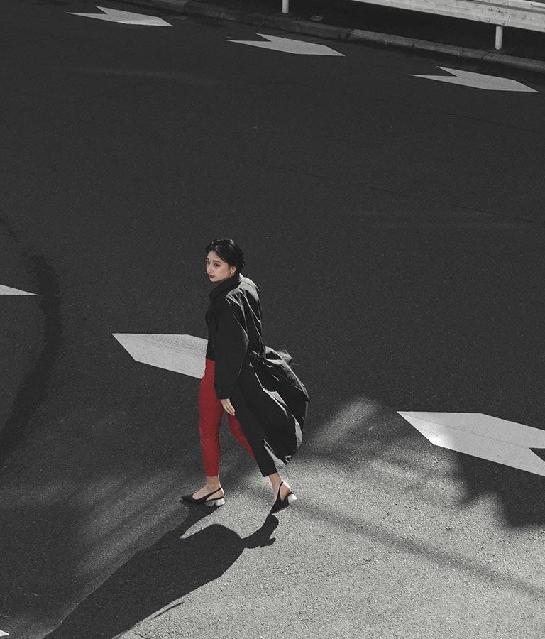 センターライン&スリットヘムデザインフェイクレザースリムパンツ(ボトムス・パンツ /ロングパンツ) | Settimissimo