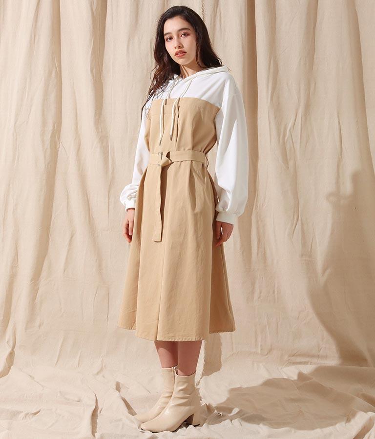ドッキングデザインフーディーワンピース(ワンピース・ドレス/ロングワンピ) | Alluge