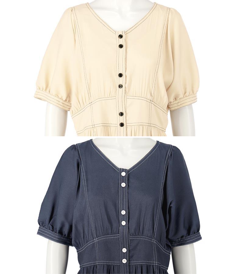 ステッチデザインワンピース(ワンピース・ドレス/ロングワンピ・マキシ丈ワンピース) | Alluge