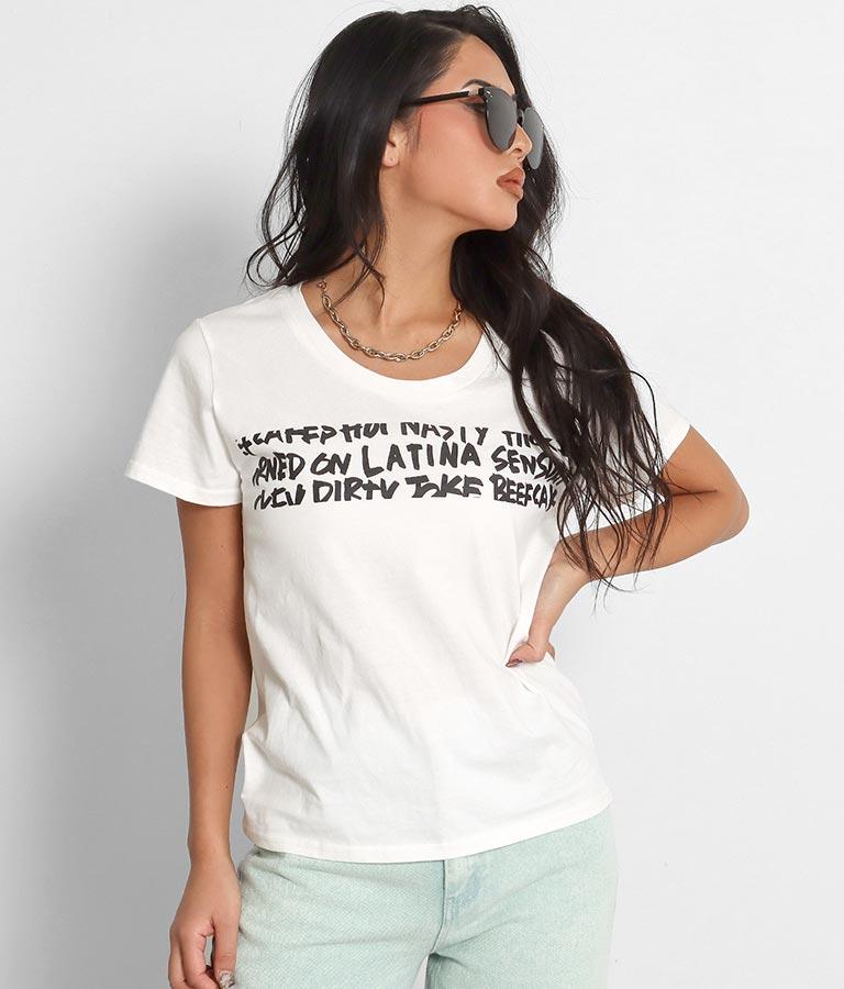 グラフティ深UネックTシャツ