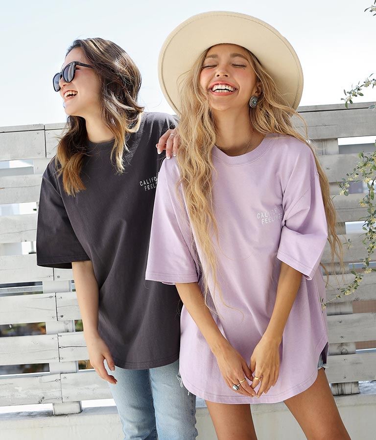 パームツリー刺繍ラウンドヘムビックTシャツ(トップス/Tシャツ)   anap mimpi