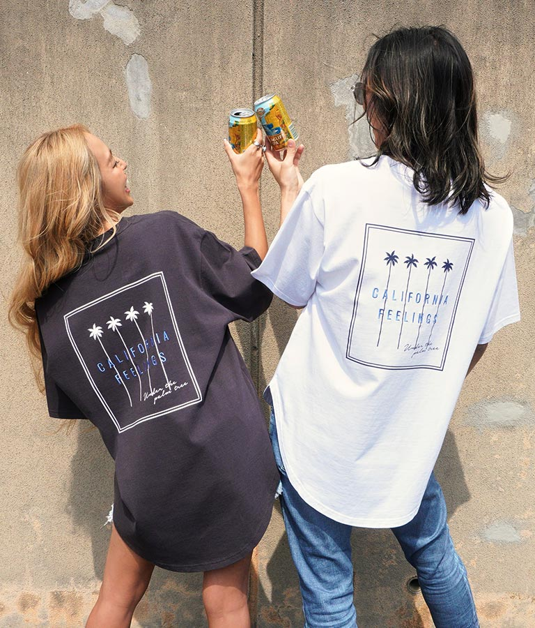 パームツリー刺繍ラウンドヘムビックTシャツ