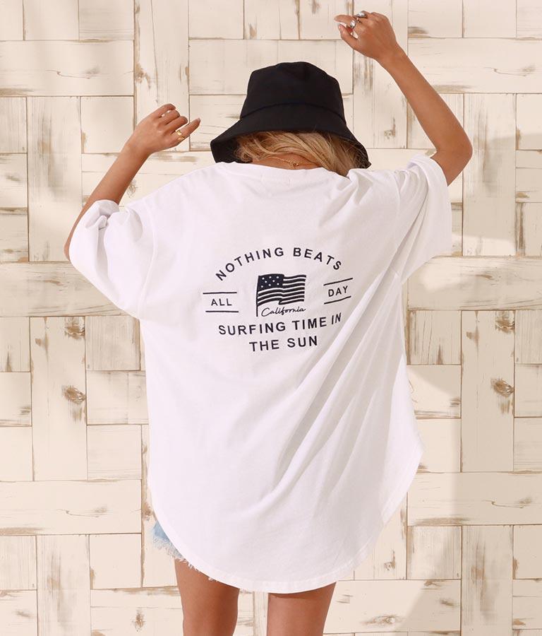 国旗刺繍ラウンドヘムビックTシャツ(トップス/Tシャツ)   anap mimpi