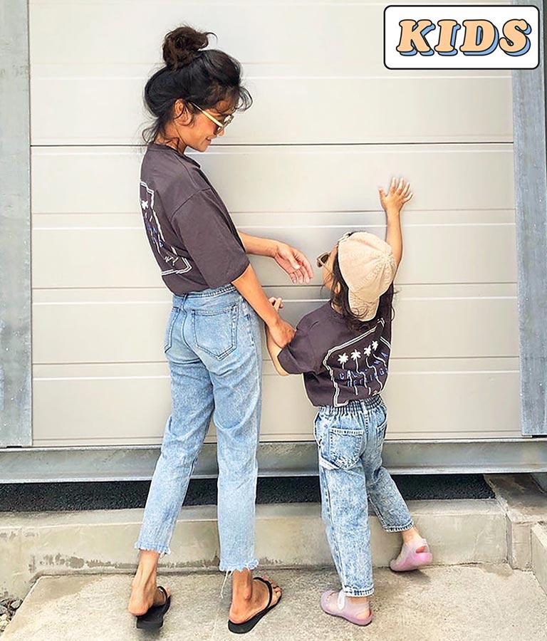 【KIDS】パームツリー刺繍ラウンドヘムビックTシャツ
