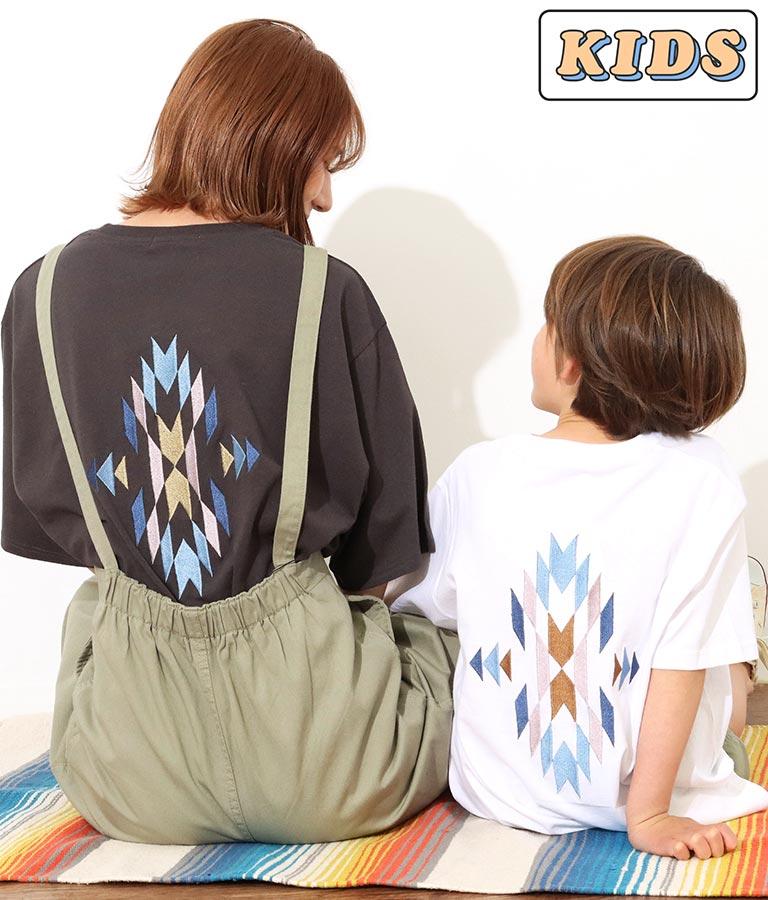 【KIDS】オルテガ刺繍ラウンドヘムビックTシャツ