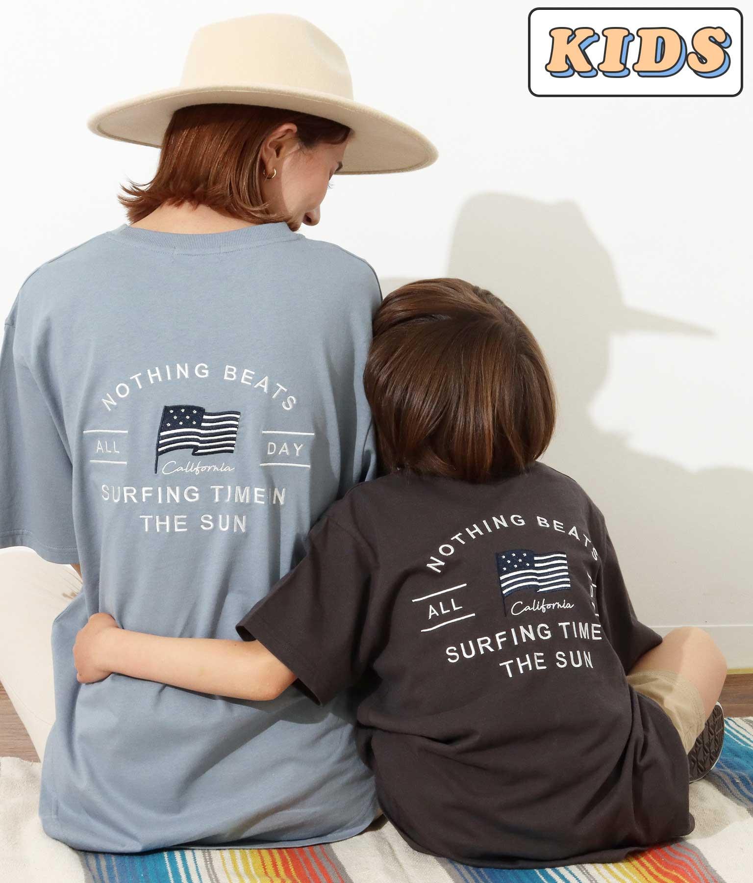 【KIDS】国旗刺繍ラウンドヘムビッグTシャツ