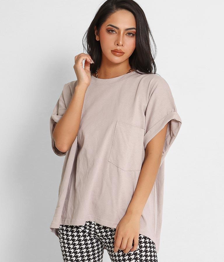 ロールアップスリーブポケット付ビッグTシャツ(トップス/Tシャツ) | anap Latina