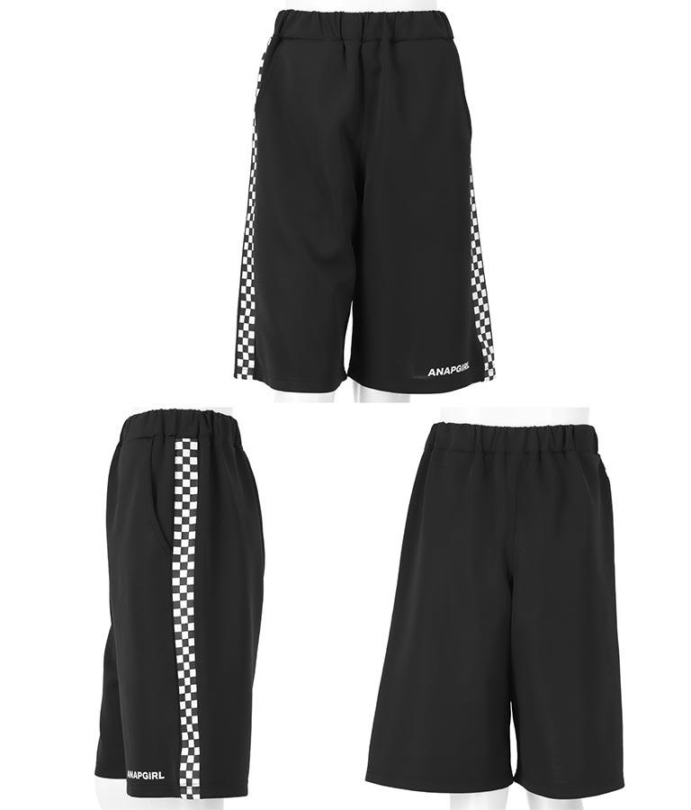 Tシャツ+サイドフラッグチェックハーフパンツセットアップ(トップス/カットソー ・ショートパンツ) | ANAP GiRL
