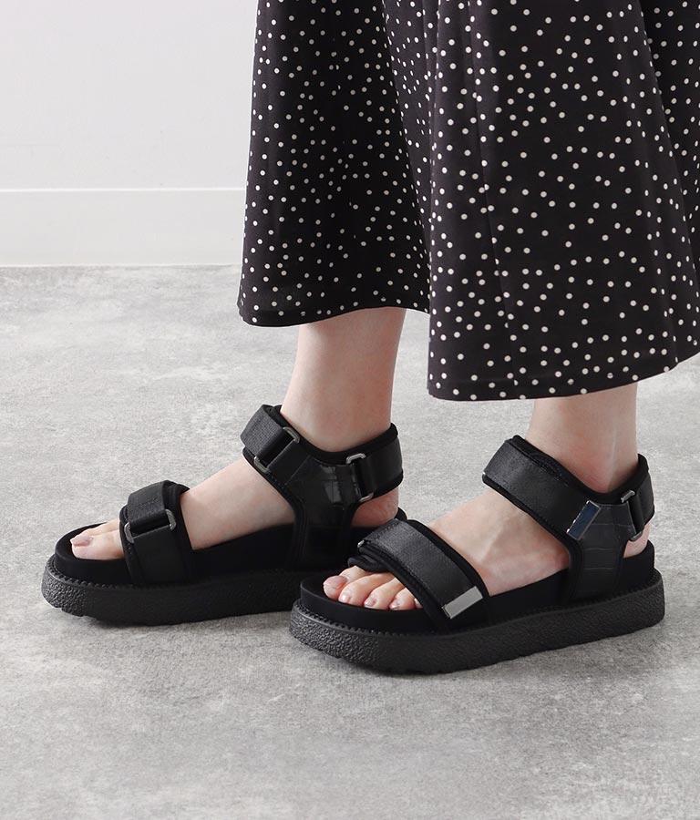 スポーティプラットフォームサンダル(シューズ・靴/サンダル) | Alluge