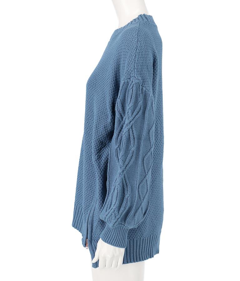 コットンケーブル裾ジップニットプルオーバー(トップス/ニット/セーター) | Alluge