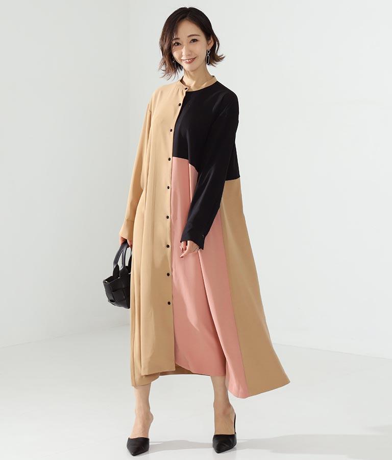 ミックスカラーシャツワンピース(ワンピース・ドレス/ロングワンピ) | Alluge