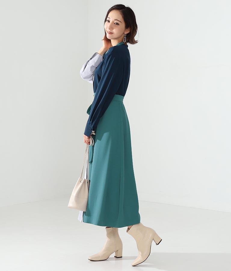 ミックスカラーシャツワンピース(ワンピース・ドレス/ロングワンピ)   Alluge