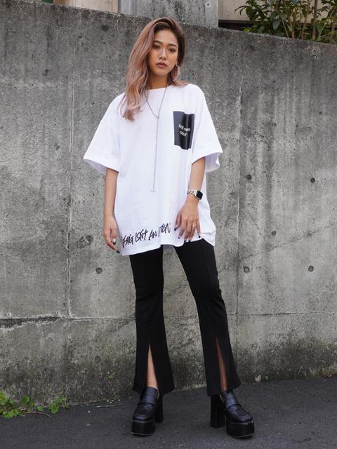 プリントロールアップオーバーサイズTシャツ