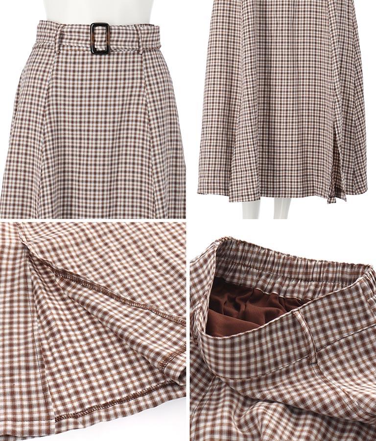 ベルト付きチェック柄ロングスカート(ボトムス・パンツ /スカート) | CHILLE