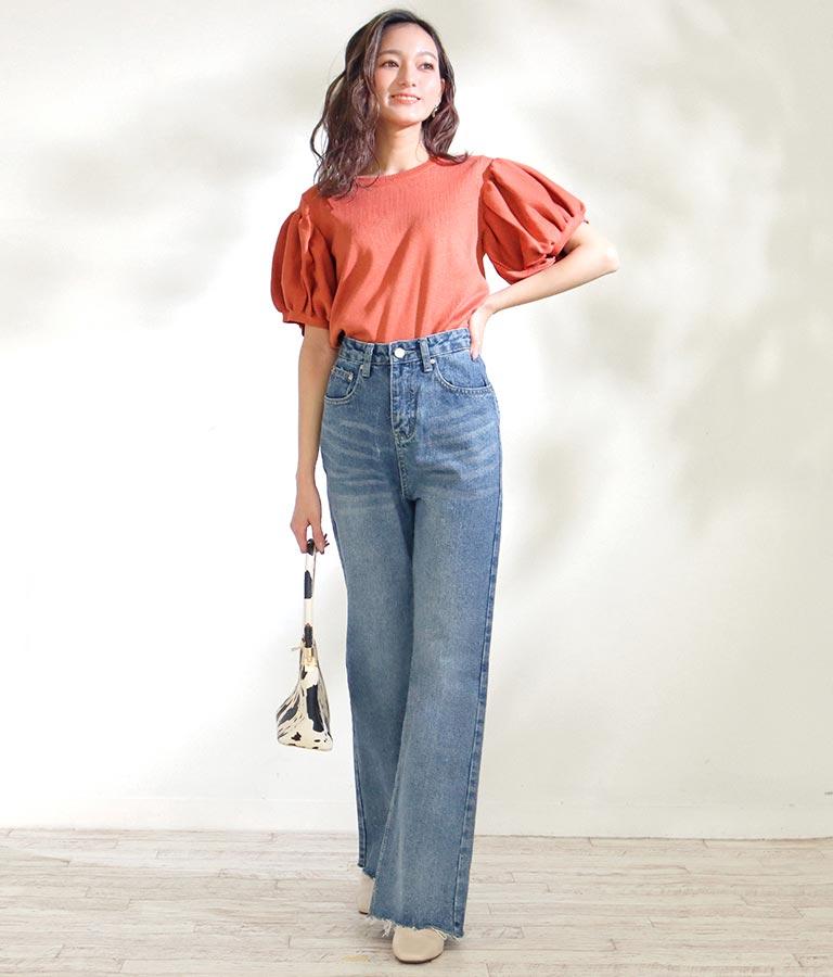 裾カットオフフレアデニムパンツ(ボトムス・パンツ /ロングパンツ)   CHILLE