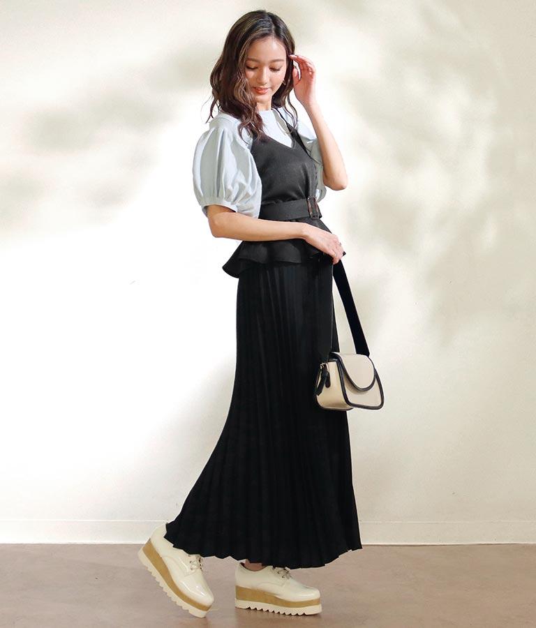 ベルト付き切替プリーツワンピース(ワンピース・ドレス/ロングワンピ) | CHILLE