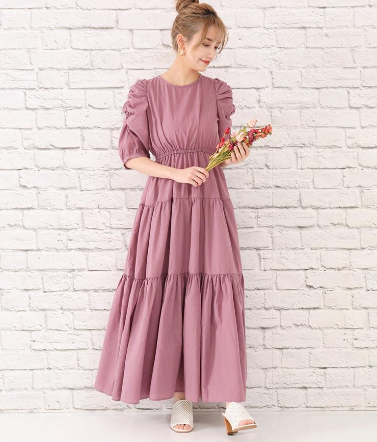 袖ギャザーティアードワンピース(ワンピース・ドレス/ロングワンピ) | CHILLE