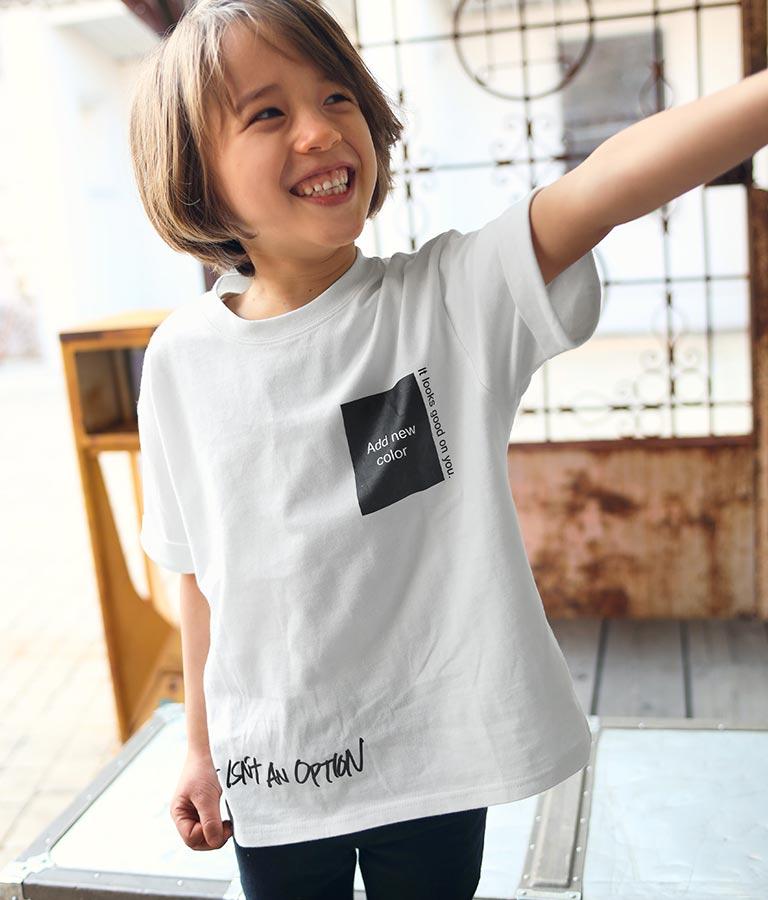 ロールアップ袖プリントビッグTシャツ