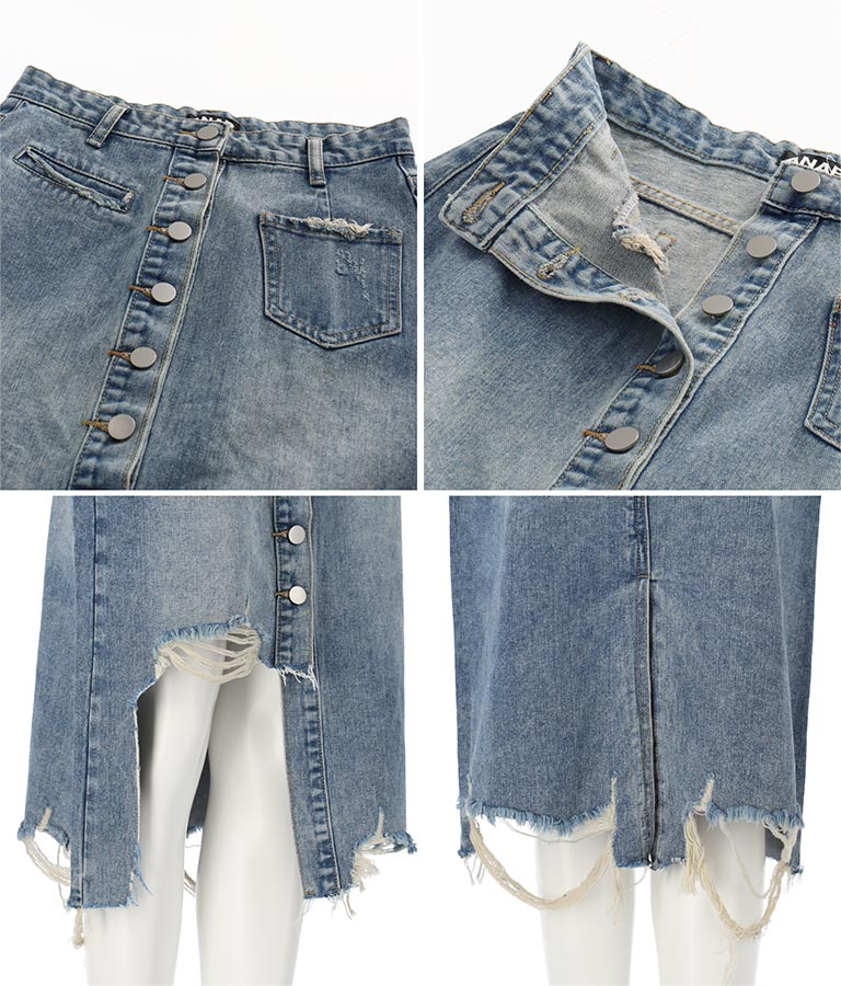 アシンメトリーダメージデニムスカート(ボトムス・パンツ /クラッシュジーンズ・スカート) | ANAP