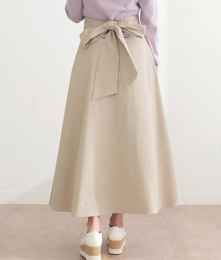 バックリボンツイルフレアスカート