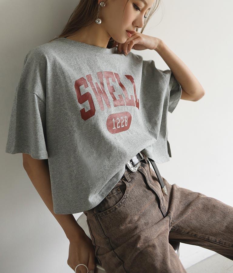 カレッジプリントクロップドTシャツ