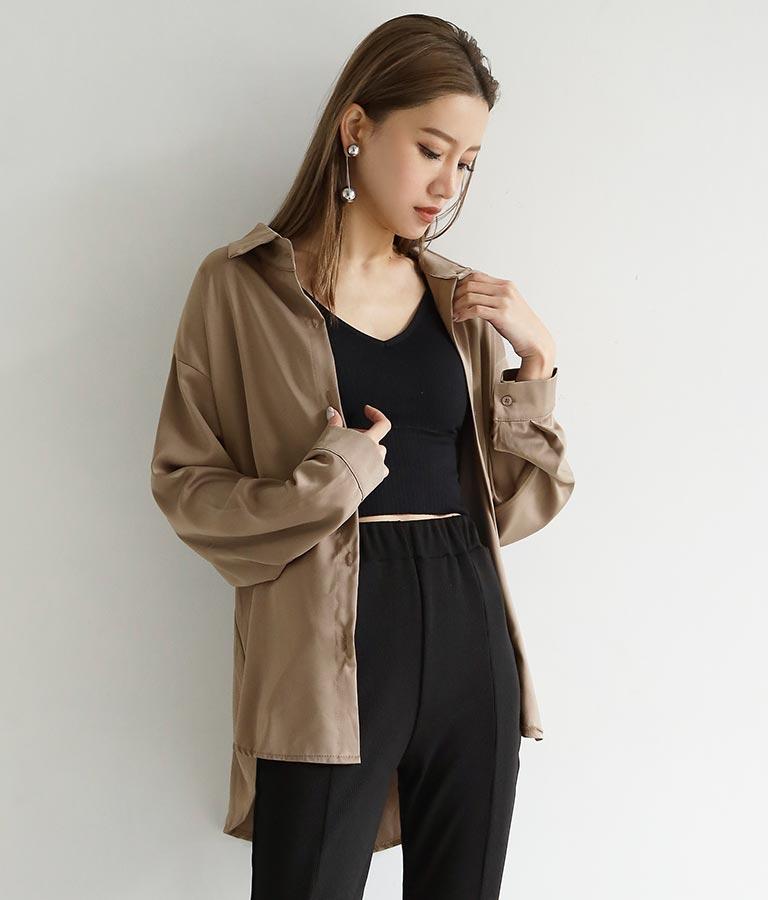 サテンオーバーサイズシャツ | ANAP