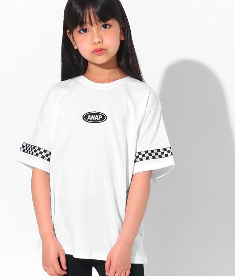 吸水速乾チェッカーテープ付ビッグTシャツ(トップス/Tシャツ)   ANAP KIDS
