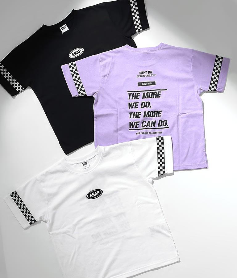 吸水速乾チェッカーテープ付ビッグTシャツ(トップス/Tシャツ) | ANAP KIDS