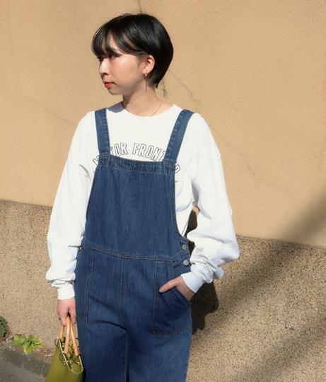 釦ステッチデニムサロペット(ワンピース・ドレス/サロペット/オールインワン) | Factor=