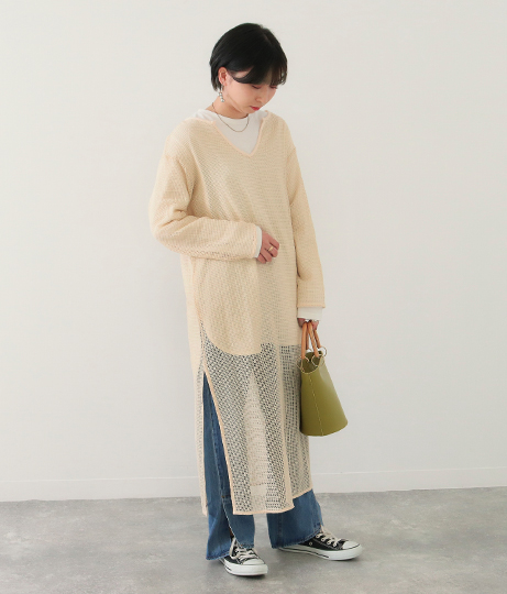 メッシュキーネックワンピース(ワンピース・ドレス/ロングワンピ)   Factor=