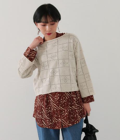 透かし編み短丈ニットトップス