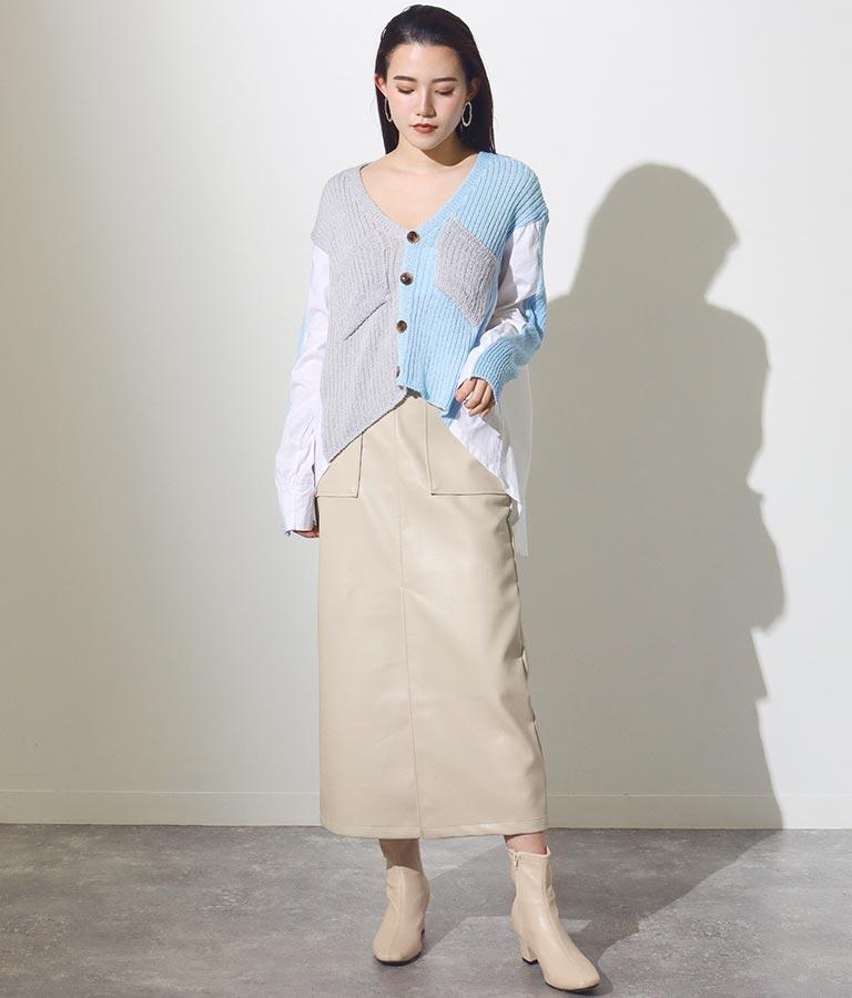 サスペンダー付フェイクレザーベイカースカート(ボトムス・パンツ /ミモレ丈スカート・スカート) | Settimissimo