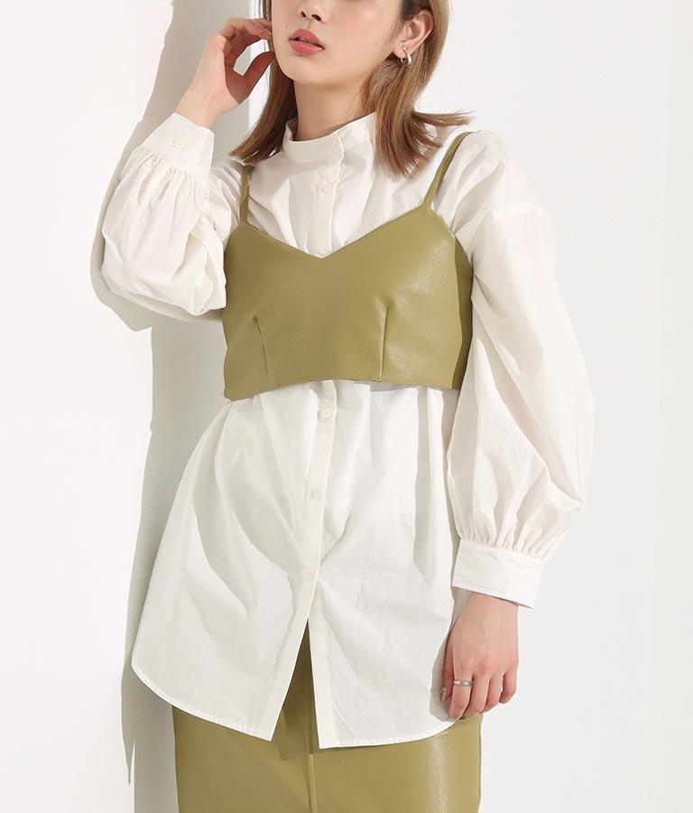 フェイクレザービスチェ×ブロードバンドカラーシャツセット