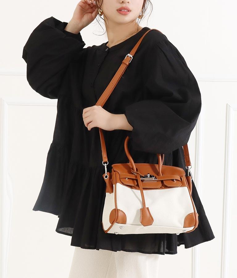 キャンバスフェイクレザー2WAYバッグ(バッグ・鞄・小物/ハンドバッグ・ショルダーバッグ) | CHILLE