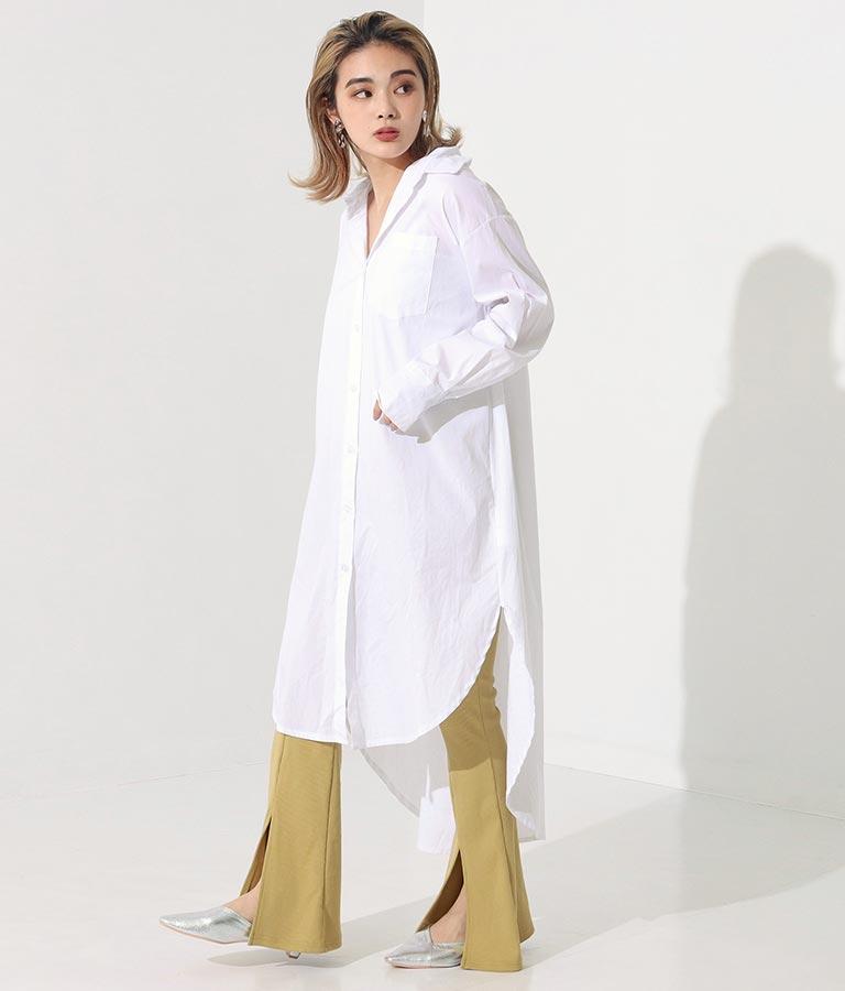 ワンポケットデザインロングシャツワンピース(ワンピース・ドレス/ロングワンピ) | Settimissimo
