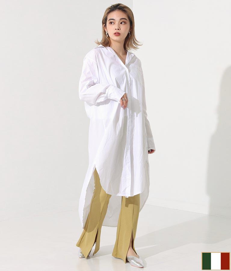 ワンポケットデザインロングシャツワンピース