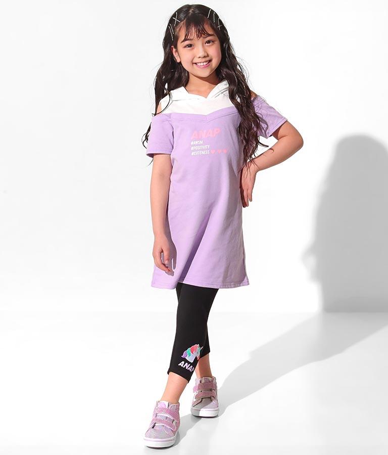 肩オープンドッキングワンピース(ワンピース・ドレス/ミディアムワンピ) | ANAP KIDS