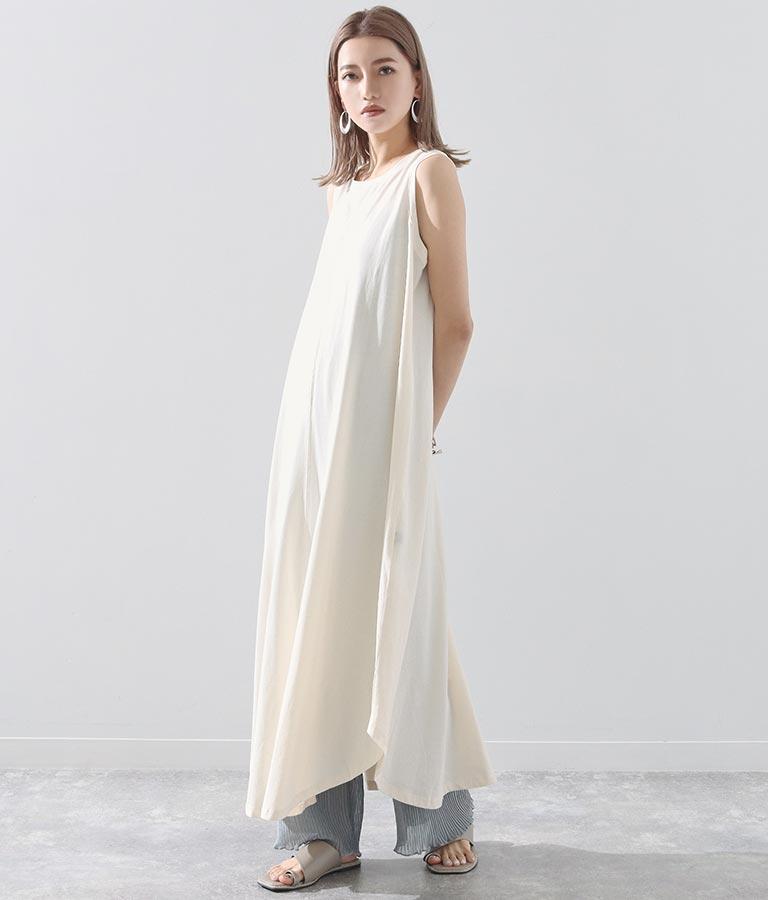 オーガニックコットンAラインフレアワンピース(ワンピース・ドレス/ロングワンピ) | Alluge