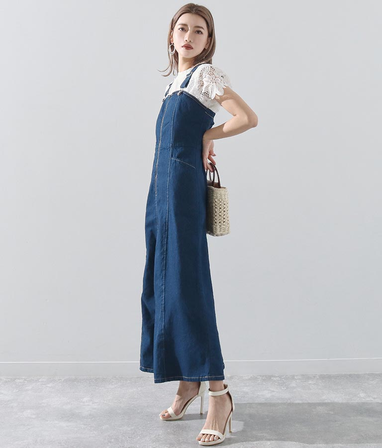フロントジップデニムワンピース(ワンピース・ドレス/ロングワンピ)   Alluge