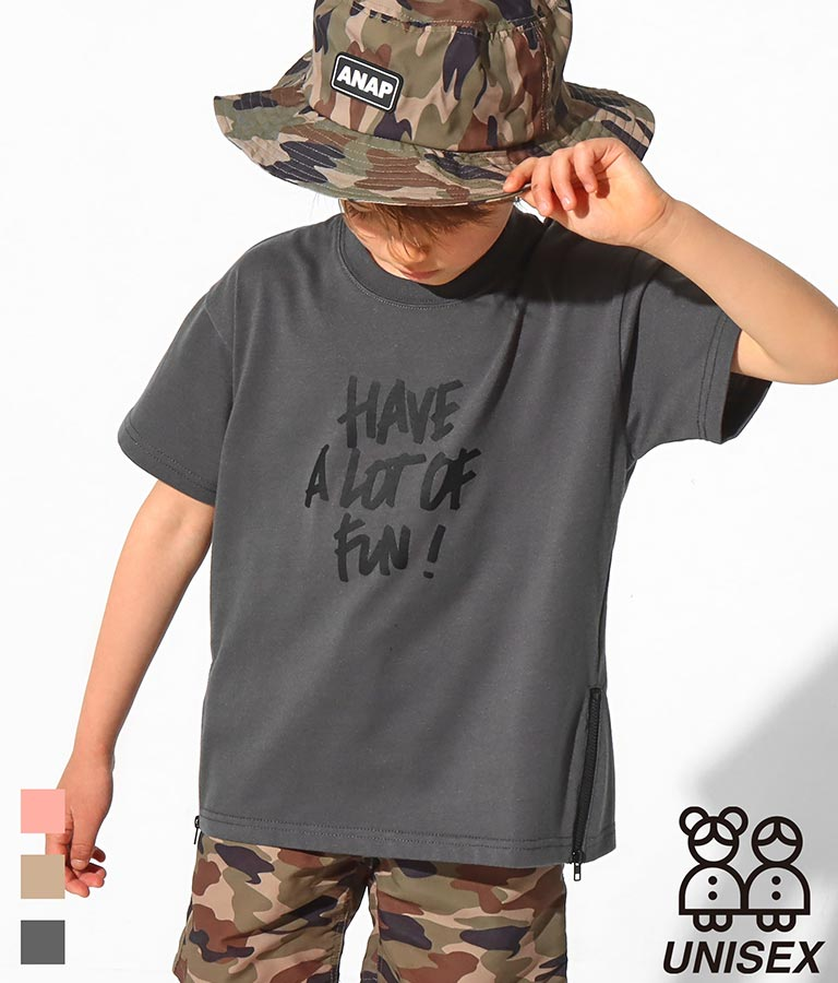 サイドジップ付ビッグTシャツ