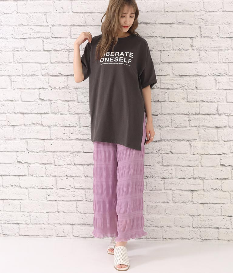 サイドスリットロゴプリントTシャツ(トップス/Tシャツ)   CHILLE
