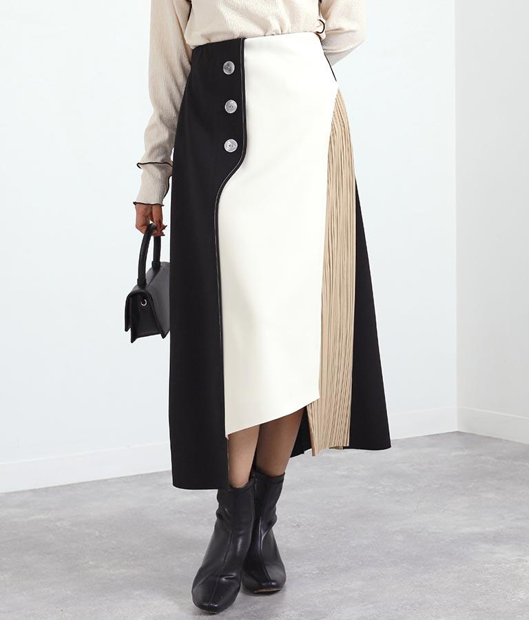 EimeeLawサイドプリーツ釦ポイントボンディングスカート