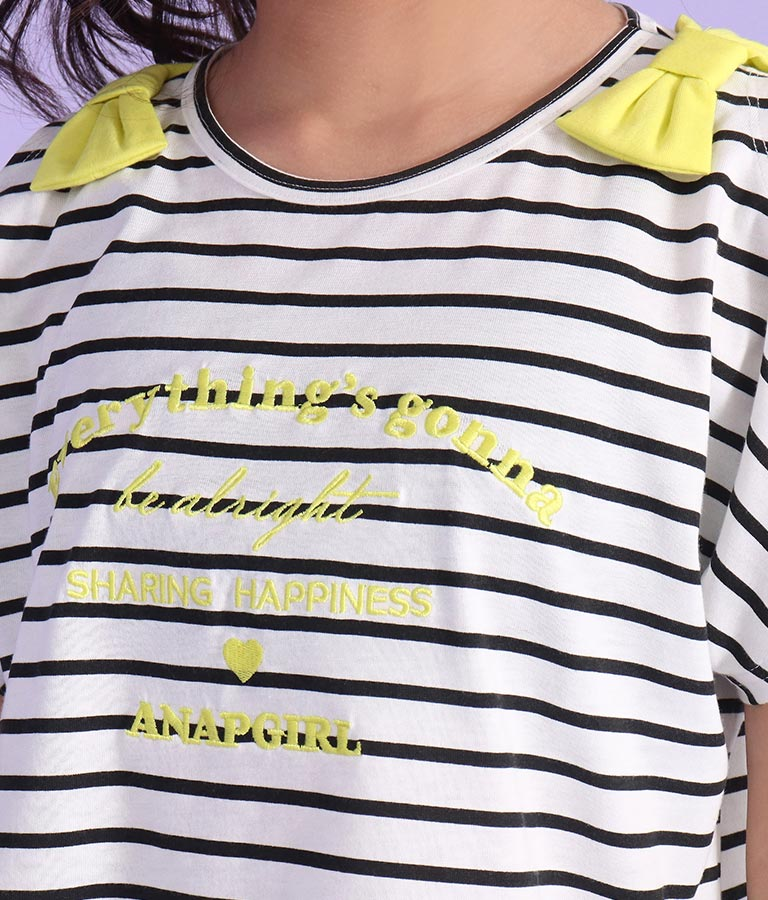 肩リボンボーダートップス(トップス/Tシャツ) | ANAP GiRL