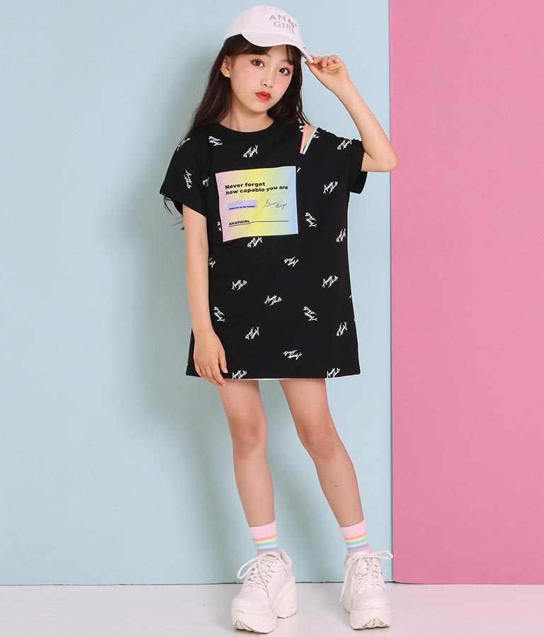 肩ジップ総柄Tシャツワンピース(ワンピース・ドレス/ミディアムワンピ・ミニワンピ) | ANAP GiRL