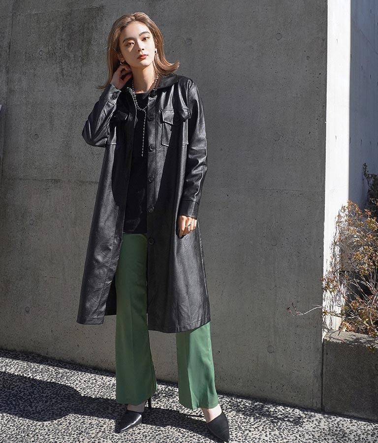 フェイクレザーロングシャツジャケット(アウター(コート・ジャケット) /ジャケット・ブルゾン)   Settimissimo