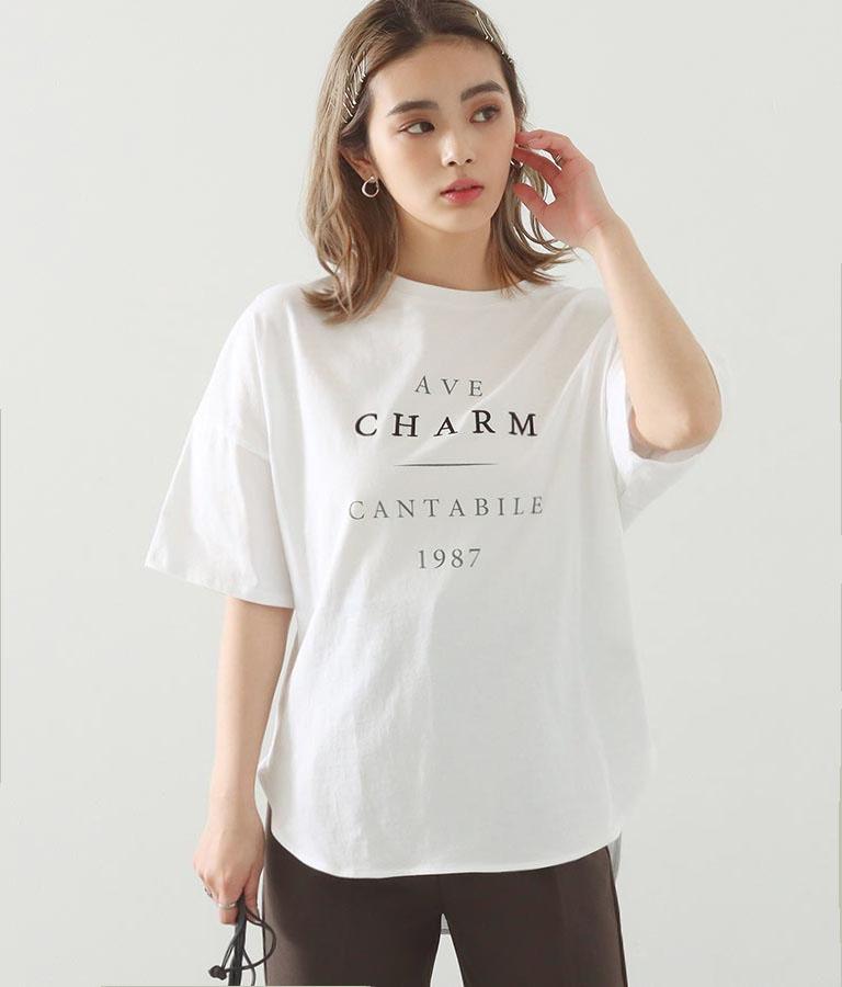 コットンプリントオーバーTシャツ