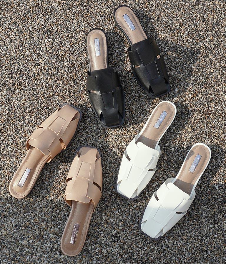 デザイン編みフラットミュールサンダル(シューズ・靴/サンダル) | Settimissimo