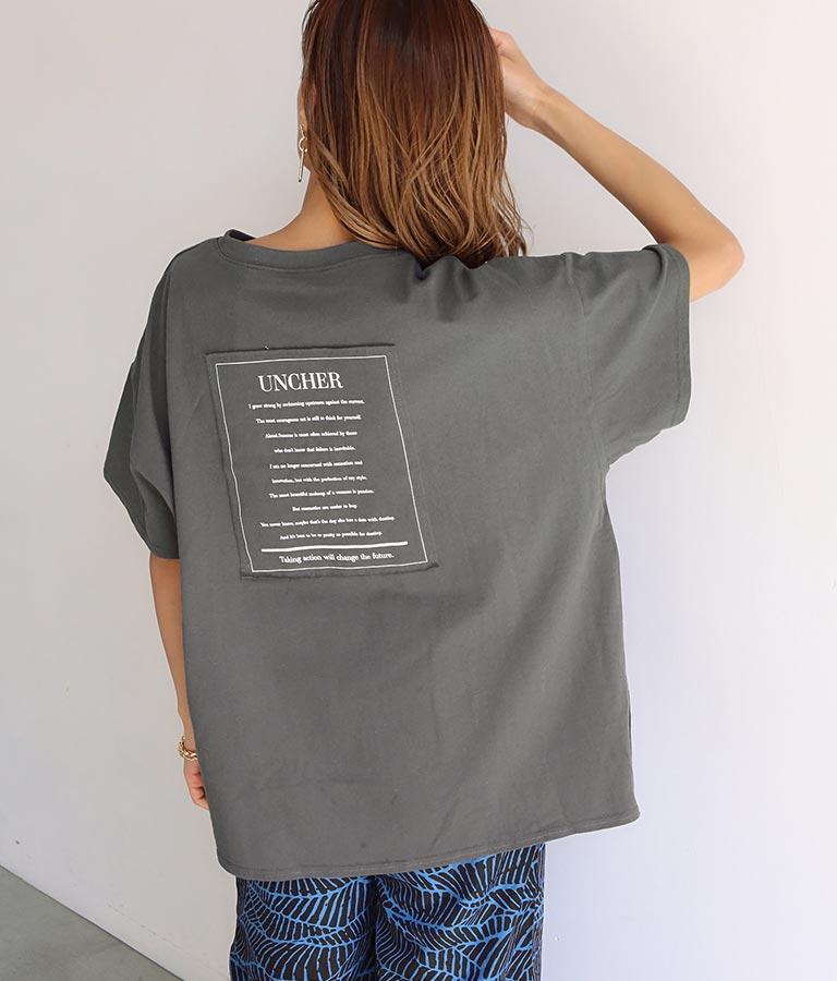 バック貼り付けプリントビッグ天竺Tシャツ