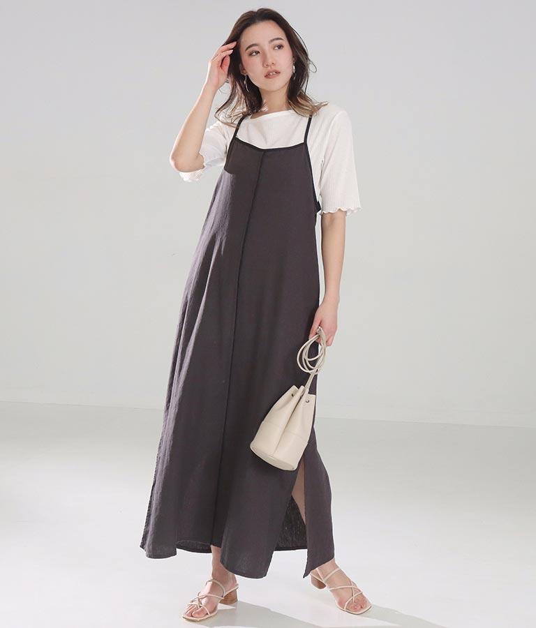 フレンチリネンキャミソールワンピース(ワンピース・ドレス/ロングワンピ・マキシ丈ワンピース) | Alluge