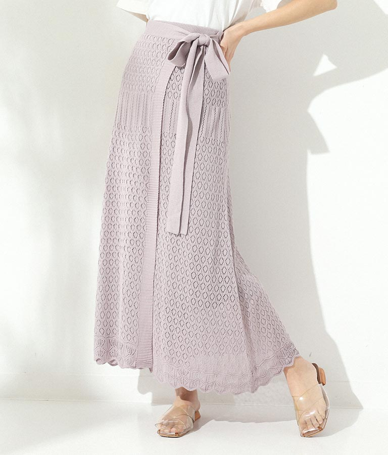 透かし編みリボン付きラップスカート